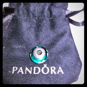Authentic Pandora Murano glass shamrock bead